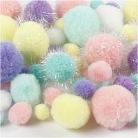 Pomponer, dia. 15-40 mm, glitter, pastellfarger, 62 g/ 1 pk.