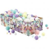 Pomponer, dia. 15-40 mm, glitter, pastellfarger, 400 g/ 1 pk.