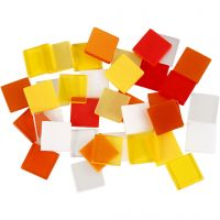 Minimosaikk, str. 10x10 mm, rød/orange harmoni, 25 g/ 1 pk.