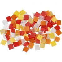 Minimosaikk, str. 5x5 mm, rød/orange harmoni, 25 g/ 1 pk.