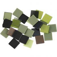 Minimosaikk, str. 10x10 mm, grønn glitter, 25 g/ 1 pk.
