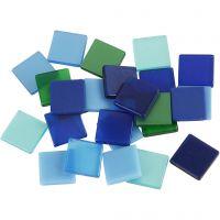 Minimosaikk, str. 10x10 mm, blå/grønn harmoni, 25 g/ 1 pk.