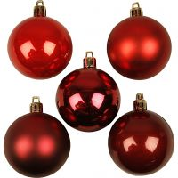 Julekule, dia. 6 cm, rød harmoni, 20 stk./ 1 pk.