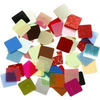 Paljettmosaikk, str. 10x10 mm, ass. farger, 250 g/ 1 pk.