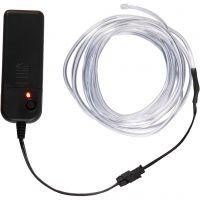 LED lysledning, L: 3 m, neon blå, hvit, 1 stk.