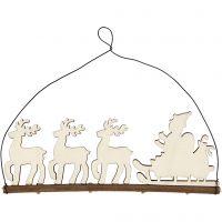 Juleoppheng, slede med reinsdyr, H: 8 cm, dybde 0,5 cm, B: 22 cm, 1 stk.