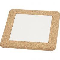 Kjeleunderlag med korkramme, str. 15,5x15,5x1 cm, hvit, 10 stk./ 1 kasse