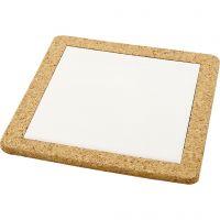 Kjeleunderlag med korkramme, str. 19x19x1,1 cm, hvit, 10 stk./ 1 kasse