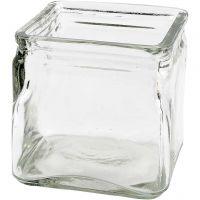 Firkantet lysglass, H: 10 cm, str. 10x10 cm, 12 stk./ 1 kasse