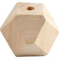 Facettslipt treperle, B: 43 mm, hullstr. 8 mm, 3 stk./ 1 pk.
