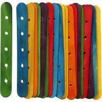 Konstruksjonspinne, L: 15 cm, B: 1,8 cm, hullstr. 4 mm, ass. farger, 20 ass./ 1 pk.