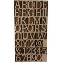 Bokstaver, tall og symboler av tre, H: 13 cm, tykkelse 2 cm, 160 stk./ 1 pk.