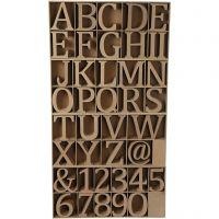 Bokstaver, tall og symboler av tre, H: 8 cm, tykkelse 1,5 cm, 240 stk./ 1 pk.