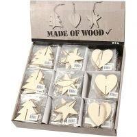 3D oppheng , hjerte, stjerne og juletre, str. 7,5x7,5x0,2 cm, 3x30 stk./ 1 pk.