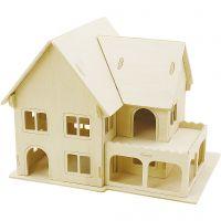 3D konstruksjonsfigur, Hus med hveranda, str. 22,5x16x17,5 , 1 stk.