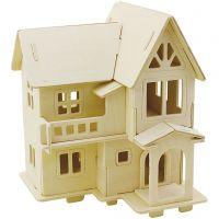 3D konstruksjonsfigur, Hus med altan, str. 15,8x17,5x19,5 , 1 stk.