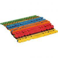 Konstruksjonspinne, L: 11,4 cm, B: 10 mm, ass. farger, 30 stk./ 1 pk.