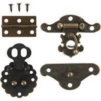 Minibeslag, str. 30-35 mm, antikk gull, 10 sett/ 1 pk.