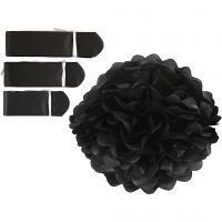 Papirpomponer, dia. 20+24+30 cm, 16 g, svart, 3 stk./ 1 pk.