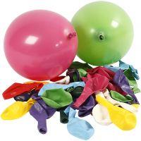 Ballonger, runde, dia. 23 cm, ass. farger, 100 stk./ 1 pk.