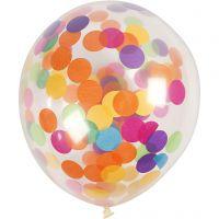 Ballonger med konfetti, runde, dia. 23 cm, transparent, 4 stk./ 1 pk.