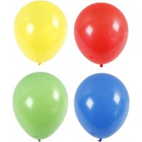 Ballonger, Stor, dia. 41 cm, blå, grønn, rød, gul, 4 stk./ 1 pk.