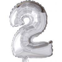 Folieballong, 2, H: 41 cm, sølv, 1 stk.