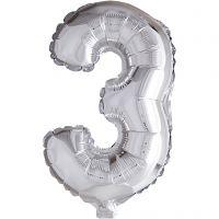 Folieballong, 3, H: 41 cm, sølv, 1 stk.