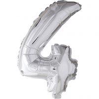 Folieballong, 4, H: 41 cm, sølv, 1 stk.