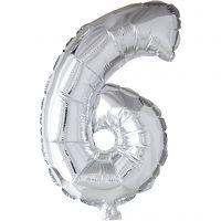 Folieballong, 6, H: 41 cm, sølv, 1 stk.