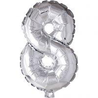 Folieballong, 8, H: 41 cm, sølv, 1 stk.