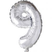 Folieballong, 9, H: 41 cm, sølv, 1 stk.