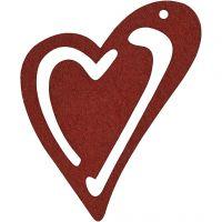 Skjevt hjerte, str. 55x45 mm, vinrød, 10 stk./ 1 pk.