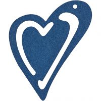 Skjevt hjerte, str. 55x45 mm, mørk blå, 10 stk./ 1 pk.