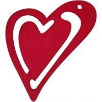 Skjevt hjerte, str. 55x45 mm, mørk pink, 10 stk./ 1 pk.
