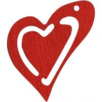 Skjevt hjerte, str. 25x22 mm, rød, 20 stk./ 1 pk.