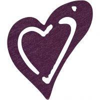 Skjevt hjerte, str. 25x22 mm, mørk lilla, 20 stk./ 1 pk.