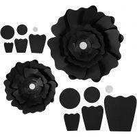 Papirblomster, dia. 15+25 cm, 230 g, svart, 2 stk./ 1 pk.