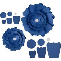 Papirblomster, dia. 15+25 cm, 230 g, blå, 2 stk./ 1 pk.