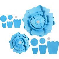 Papirblomster, dia. 15+25 cm, 230 g, lys blå, 2 stk./ 1 pk.