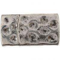 Magnetlås, str. 7x29 mm, hullstr. 3x10 mm, antikk sølv, 1 stk.