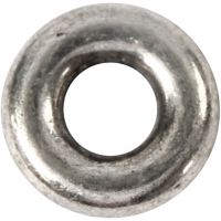 Leddperle, dia. 9 mm, hullstr. 4 mm, antikk sølv, 15 stk./ 1 pk.