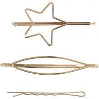 Hårspenne, L: 70 mm, B: 32 mm, forgylt, 3 stk./ 1 pk.