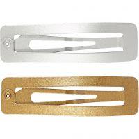 Knekkspenne, L: 58 mm, B: 16 mm, gull, sølv, 4 stk./ 1 pk.