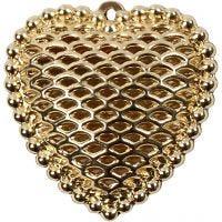 Hjerte, str. 28x29 mm, hullstr. 1 mm, forgylt, 1 stk.