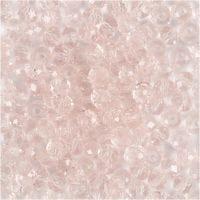 Facettperler, dia. 4 mm, hullstr. 1 mm, lys rosa, 45 stk./ 1 streng