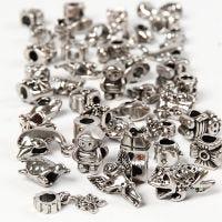 Fashion links, dia. 7-18 mm, hullstr. 4 mm, Innhold kan variere , antikk sølv, 100 g/ 1 pk.