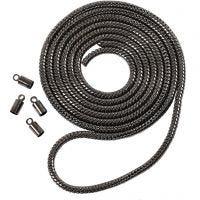 Slangekjede, dia. 3,1 mm, mørk grå metallic, 1 m