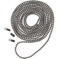 Kulekjede, dia. 1,5 mm, mørk grå metallic, 1 m