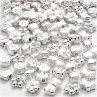 Figurperler, str. 4-10 mm, hullstr. 1-1,5 mm, forsølvet, 200 stk./ 1 pk.